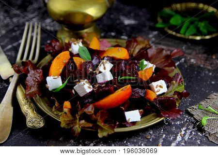 vegetarian beet salad,apricot and feta cheese with flax seed
