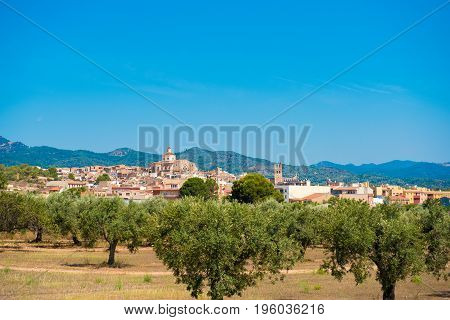 View of Mont-roig del Camp and the church of St. Miguel Tarragona Catalunya Spain. Copy space for text