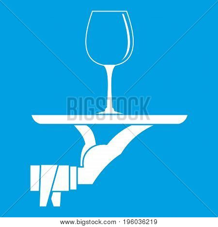 Waiter hand holding tray with wine glass icon white isolated on blue background vector illustration