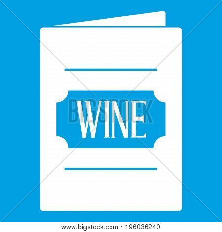 Wine list icon white isolated on blue background vector illustration