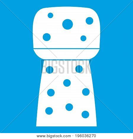 Wooden cork icon white isolated on blue background vector illustration