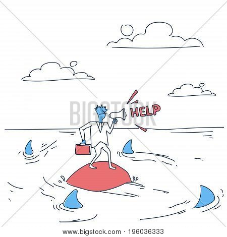 Business Man On Island In Sea Water With Sharks Around Asking Help Concept Financial Crisis Doodle Vector Illustration