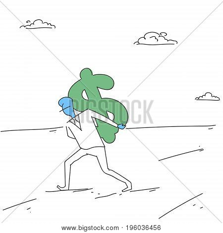Rich Business Man Hold Dollar Money Finance Success Concept Doodle Vector Illustration