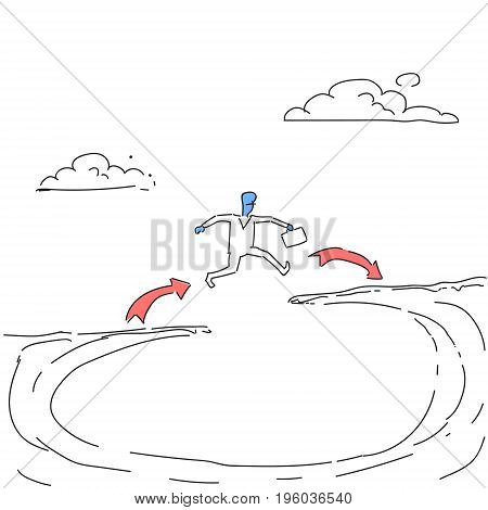 Businessman Jump Over Cliff Gap Mountain To Success Business Man Risk Concept Doodle Vector Illustration