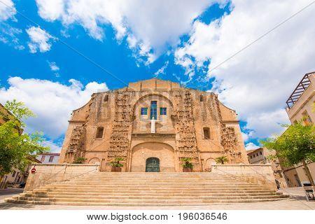 Church Of San Miguel In Mont-roig Del Camp, Tarragona, Catalunya, Spain. Copy Space For Text.