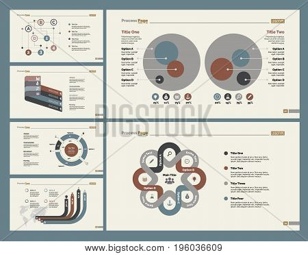 Infographic design set can be used for workflow layout, diagram, annual report, presentation, web design. Business and planning concept with process, doughnut and percentage charts.