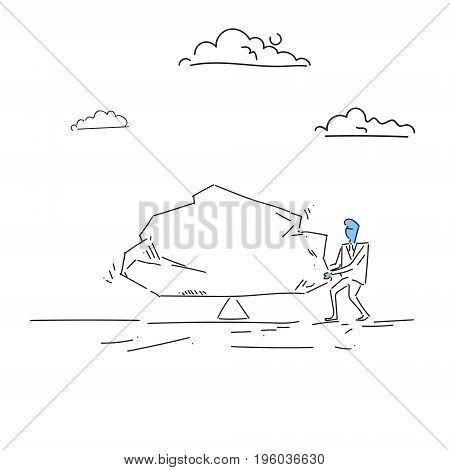 Business Man Balancing Big Stone Debt Loan Crisis Risk Concept Doodle Vector Illustration