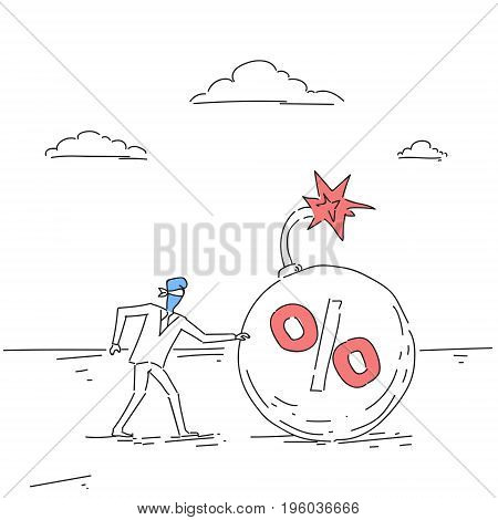 Business Man Blind Coming To Percent Bomb Credit Debt Finance Crisis Risk Concept Doodle Vector Illustration