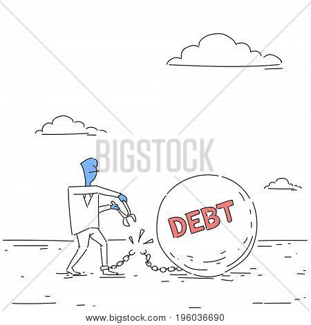 Business Man Cut Chain Bound Paid Credit Debt Finance Success Freedom Concept Doodle Vector Illustration