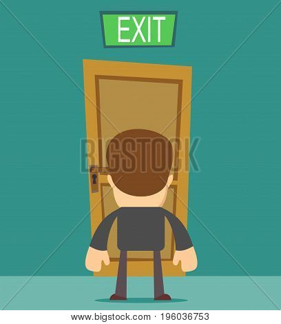 businessman standing in front of closed doors. Stock vector illustration for poster, greeting card, website, ad, business presentation, advertisement design.