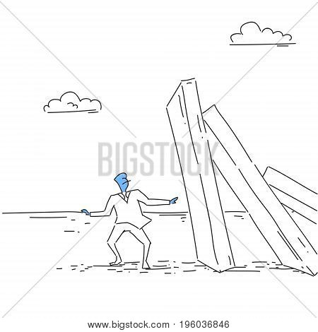 Business Man Standing At Chart Bar Falling Economic Fail Crisis Concept Doodle Vector Illustration