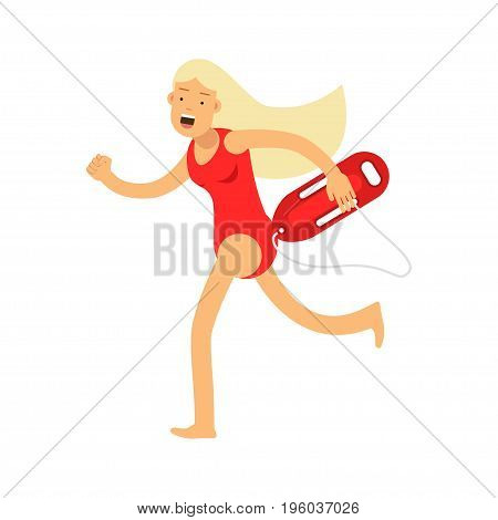 Lifeguard girl character in a red swimsuit running with life preserver buoy vector Illustration isolated on a white background