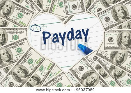 Like Friday payday One hundred dollar bill in the shape of a heart with a calendar and text Payday
