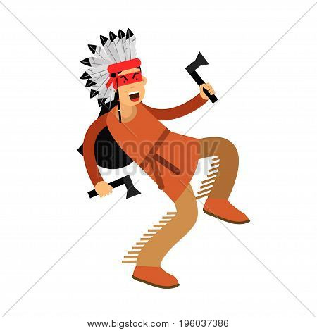 Native american indian in traditional costume dancing with two tomahawks vector Illustration isolated on a white background