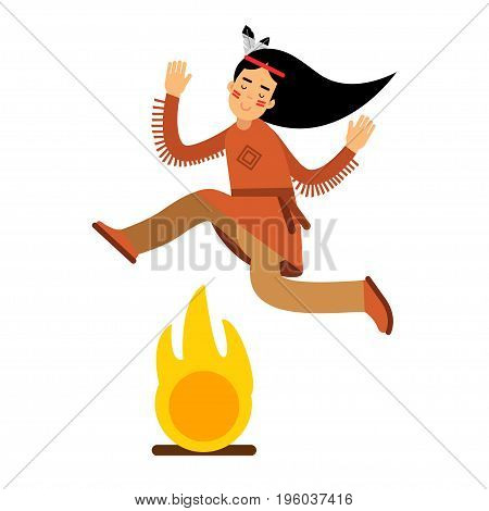 Native american indian girl in traditional costume jumping over bonfire vector Illustration isolated on a white background