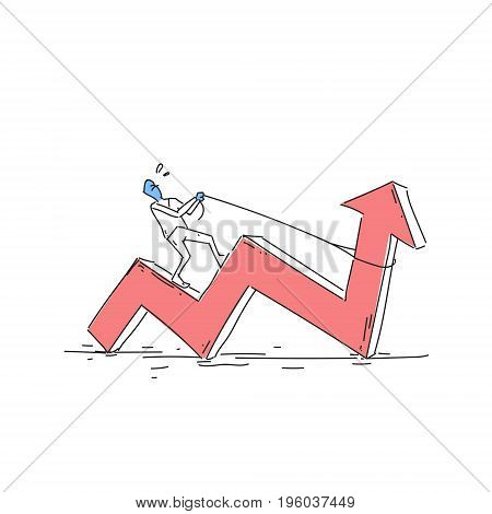 Business Man Ride Red Arrow Pulling Up Financial Success Concept Doodle Vector Illustration