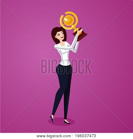 Female cartoon vector character on isolated background. Successful businessman holding award winner cup.