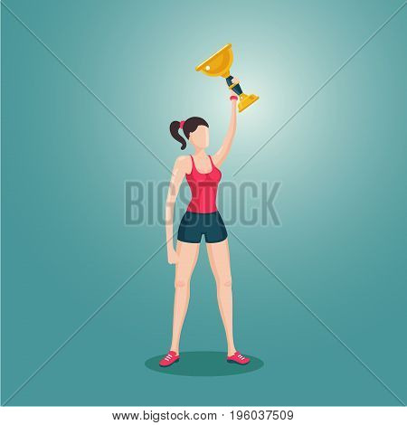 3d cartoon female vector character. Sport girl holding award winner cup. Woman with prize.