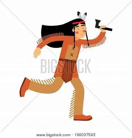 Native american indian girl in traditional costume rinning with tomahawk vector Illustration isolated on a white background