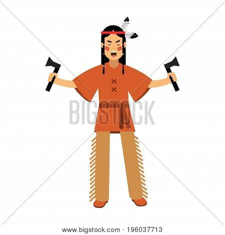 Native american indian in traditional costume standing with two tomahawks vector Illustration isolated on a white background