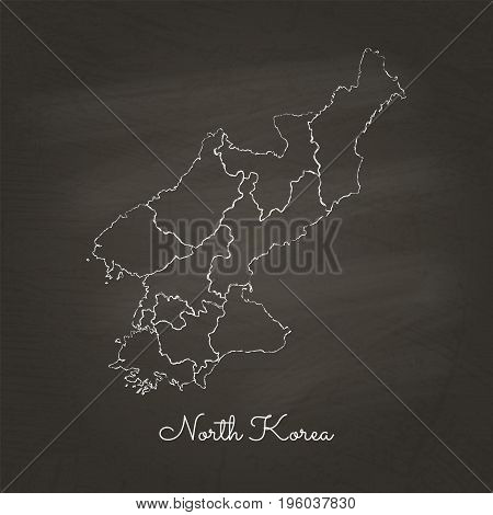 North Korea Region Map: Hand Drawn With White Chalk On School Blackboard Texture. Detailed Map Of No