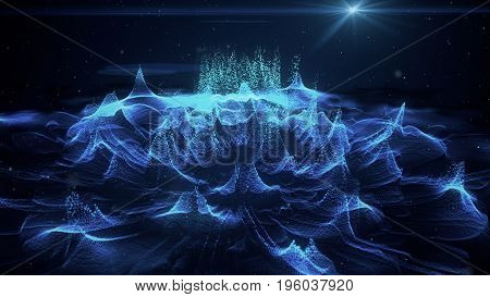 Abstract Blue Technology Background 3D Illustration