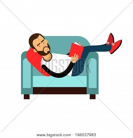 Young bearded man lying on a light blue armchair and reading a book vector Illustration isolated on a white background