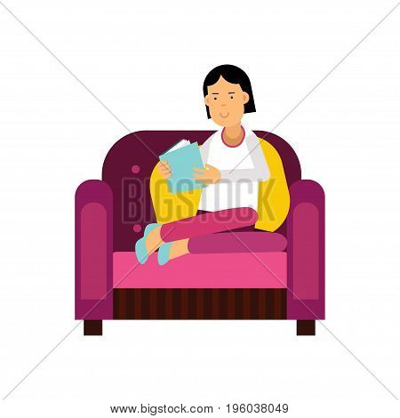 Young woman sitting on a purple armchair and reading a book vector Illustration isolated on a white background