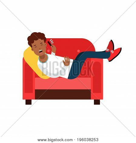 Black young man lying on a red armchair and talking on cellphone vector Illustration isolated on a white background