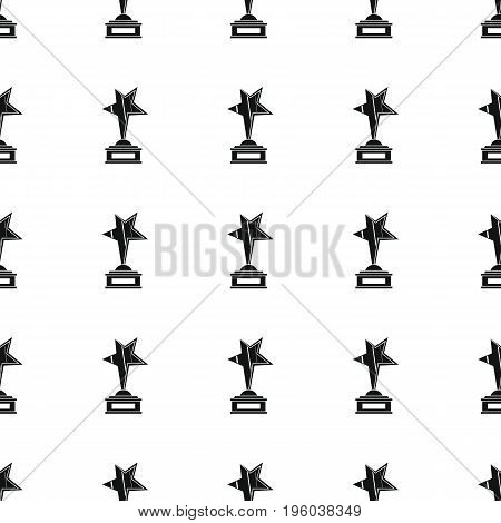 Awards sport winner black simple silhouette cup with star vector seamless pattern. Silhouette stylish texture. Repeating awards seamless pattern background for winner sport design and web