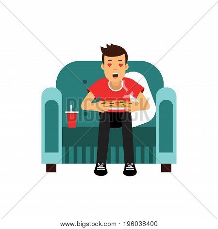 Young man sitting on a red armchair eating and watching TV with red hearts in his eyes vector Illustration isolated on a white background