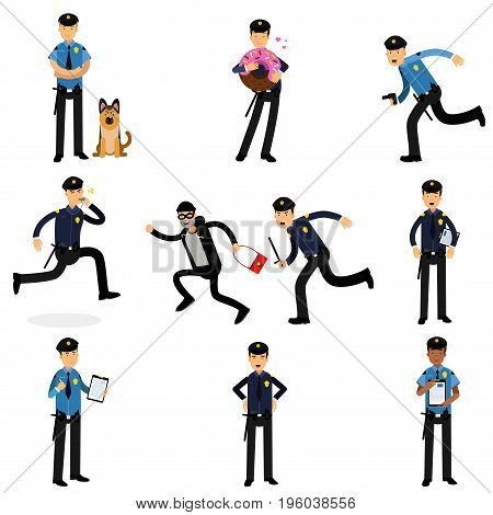 Policeman characters doing their job set, policemen at work vector Illustrations isolated on white background