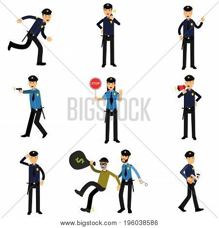Policeman characters at work set, policemen doing their job vector Illustrations isolated on white background