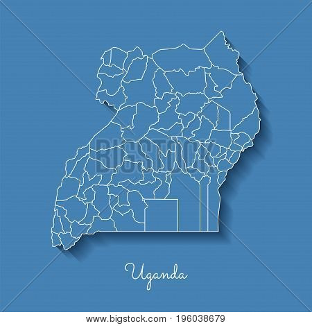 Uganda Region Map: Blue With White Outline And Shadow On Blue Background. Detailed Map Of Uganda Reg