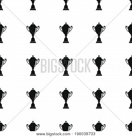 Awards sport winner black simple silhouette cup vector seamless pattern. Silhouette stylish texture. Repeating awards seamless pattern background for winner sport design and web