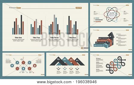 Infographic design set can be used for workflow layout, diagram, annual report, presentation, web design. Business and statistics concept with process, bar and percentage charts.