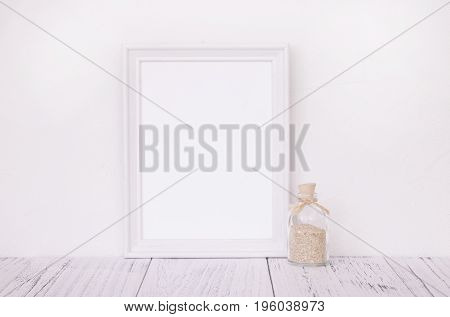 Stock Photography Of Retro White Frame Template Vintage Wood Table And Glass Sand Bottle