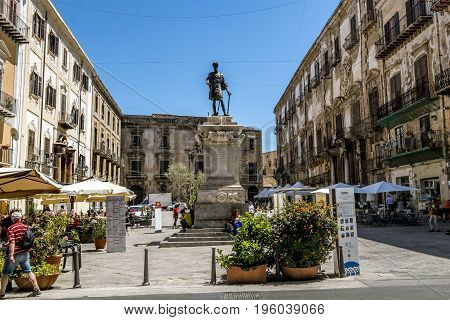 Palermo.Italy.May 26 2017.A view of the Piazza Bologni at Palermo . Sicily