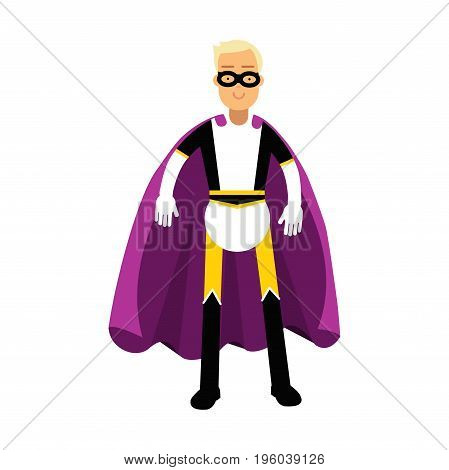 Young man in classic superhero costume and a purple cape vector Illustration isolated on a white background