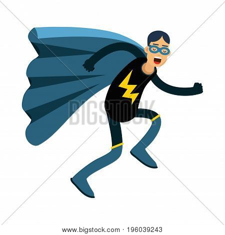 Young masked man in a superhero costume and blue cape running vector Illustration isolated on a white background