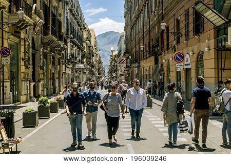 Palermo.Italy.May 26 2017.Pedestrian street Via Maqueda in Palermo . Sicily