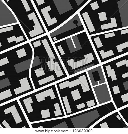 Map seamless pattern. Simple flat illustration of repeatable black and white city plan with streets.