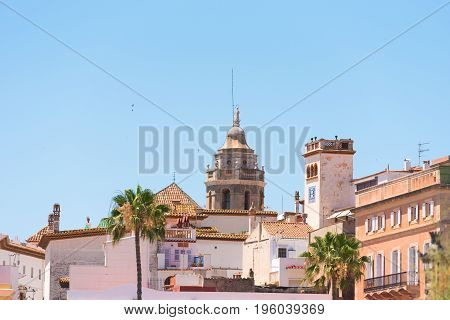 View Of The Historical Center And The ñhurch Of Sant Bartomeu And Santa Tecla In Sitges, Barcelona,