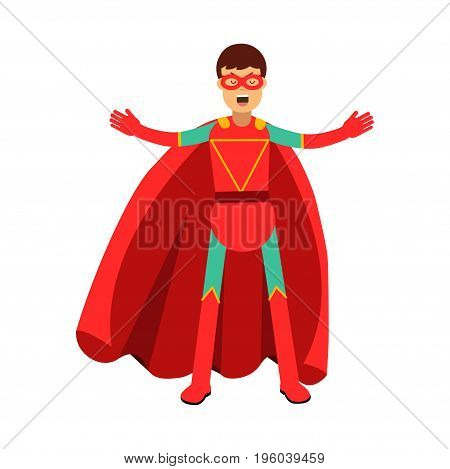 Young masked man in a red superhero costume vector Illustration isolated on a white background