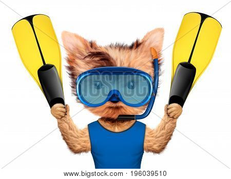 Funny animal in diving mask holding flippers. Concept summer holidays, travel vacation concept. Realistic 3D illustration.