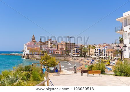 Landscape Of The Coastline In Sitges, Barcelona, Catalunya, Spain. Copy Space For Text.