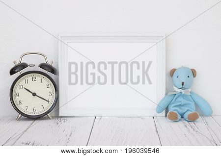 Stock Photography White Frame Vintage Painted Wood Table Cute Blue Bear Black Alarm Clock
