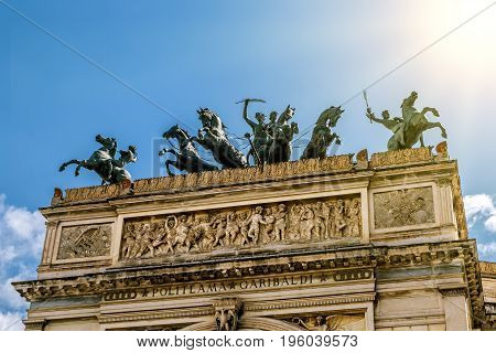 Palermo.Italy.May 26 2017.View of the sculptural composition on the roof of the Teatro Politeama in Palermo . Sicily