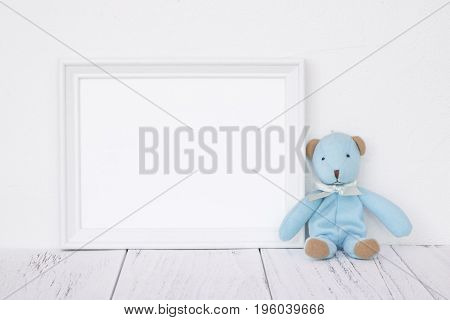 Stock Photography White Frame Vintage Painted Wood Table Cute Blue Bear