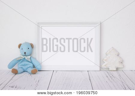 Stock Photography White Frame Vintage Painted Wood Table Cute Blue Bear Christmas Tree Retro Craft
